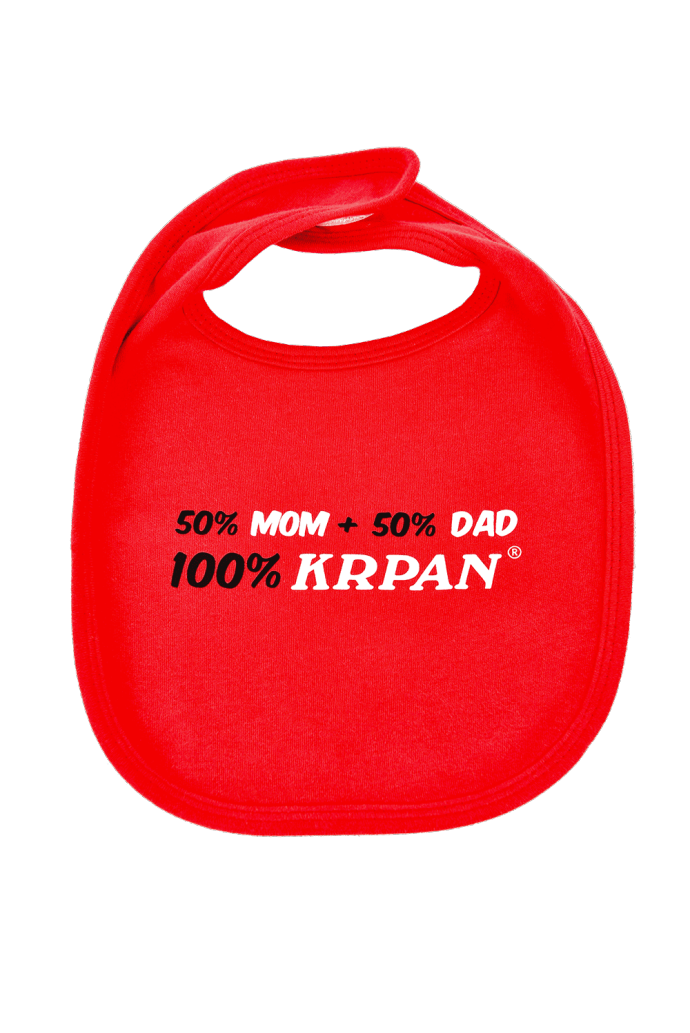 Lätzchen 50% MOM, 50% DAD, 100% KRPAN, rot