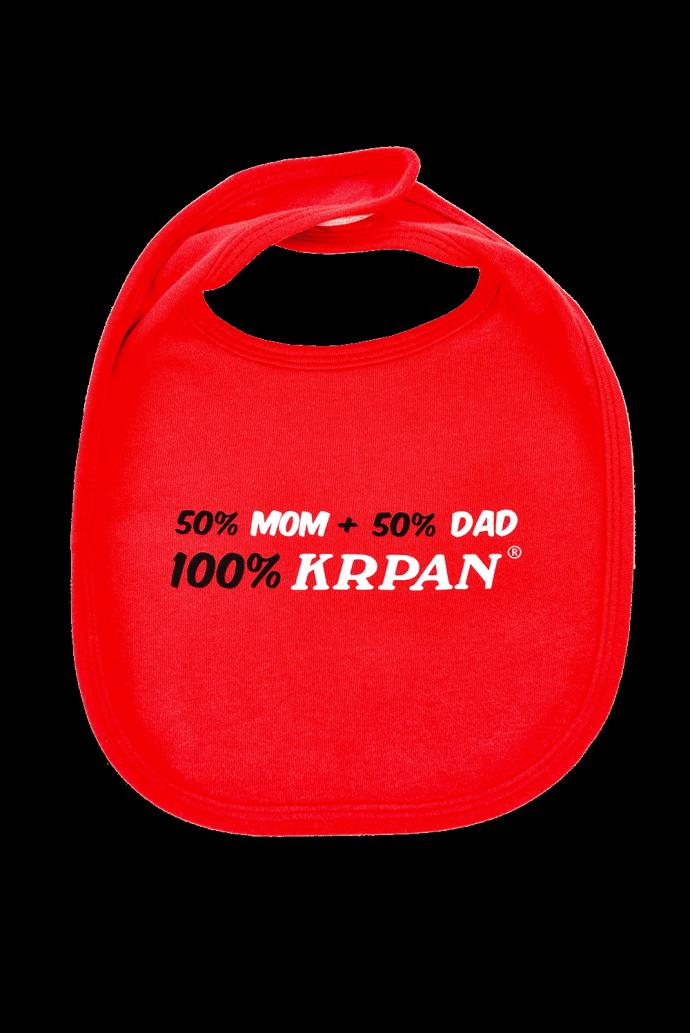 Otroški slinček 50% MOM, 50% DAD, 100% KRPAN, rdeč