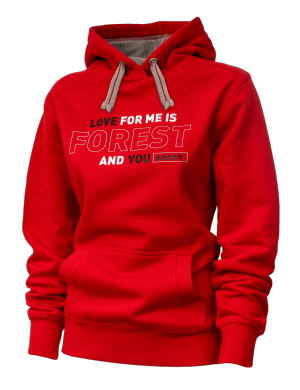 Unisex hoodie LOVE FOR ME IS FOREST AND YOU - rdeč