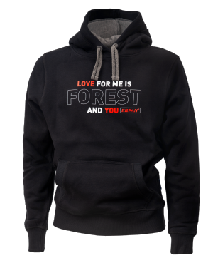 Unisex hoodie LOVE FOR ME IS FOREST AND YOU - črn